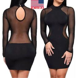 US STOCK Sexy Women Mesh Sheer Long Sleeve Bodycon Party Clu