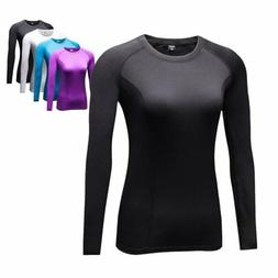 US Women Gym Sport Long Sleeve Shirt Tops Thermal Compressio
