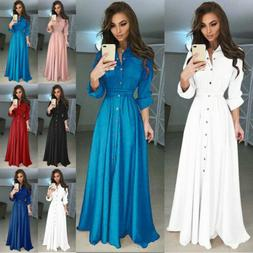 US Women Long Sleeve Button Dowm Maxi Dress Evening Party Ca