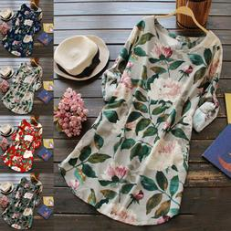 US Women Rolled Up Long Sleeve Floral Tunic Tops T Shirt Sum