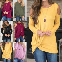 US Women's Cold Shoulder Blouse Long Sleeve Casual Loose Pla