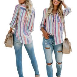 US Women Striped Long Sleeve Blouse Loose Tops Summer Button