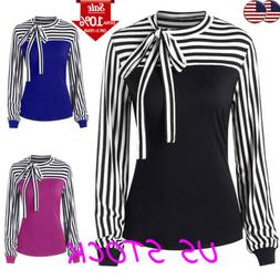 US Womens Bow Tie Striped Contrast Long Sleeve Shirts Ladies