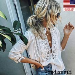 US Womens Floral Lace Sheer Long Sleeve Embroidery White Tee
