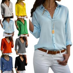 US Women's Long Sleeve Blouse Loose Tops Ladies V Neck Cas