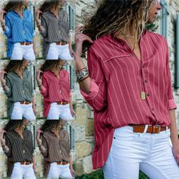 US Womens Long Sleeve Striped Shirt Button Down Ladies Loose