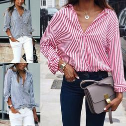 US Womens Striped Casual Work OL Shirt Blouse Long Sleeve T-