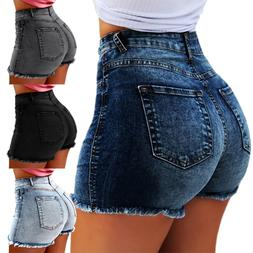 Vintage Women Strench Denim Summer High Waisted Shorts Slim