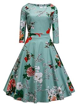 Vogtage 1950's Long Sleeve Retro Floral Vintage Dress with D