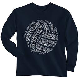 Volleyball Words Long Sleeve T-shirt Adult Large Safety Gree