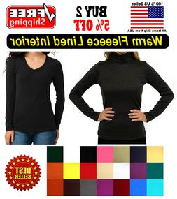 Warm Fleece Seamless Stretch Long Sleeve Turtleneck Mock Hig