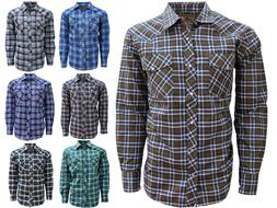 Western Shirt for Men- Casual, Long Sleeve, Plaid with Pearl