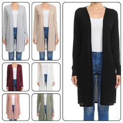 WOMAN LONG SLEEVE DUSTER CARDIGAN WITH SIDE SLIT DETAILPlus