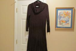 Calvin Klein Woman Midi Fit + Flare Knit Sweater Dress Dark