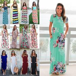 Women Boho Floral Long Maxi Dress Cocktail Party Evening Sum