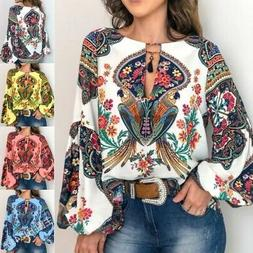 Women Boho Floral V-Neck Long Lantern Sleeve Oversize Blouse