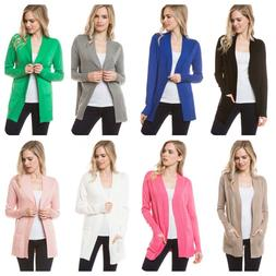 Women  Casual  Long Sleeve Solid Open Front Cardigan Sweater