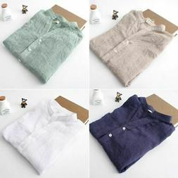 Women Casual Loose Cotton Linen Blouse Long Sleeve Tops Shee