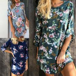 Women Floral Rolled Up Long Sleeve Tunic T Shirt Top Summer