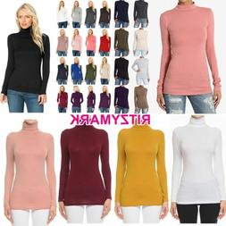 Women ladies Winter Cotton Stretch Long Sleeve Mock Neck Tur