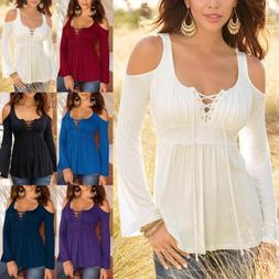 Women Long Bell Sleeve Tops Deep V Lace Up Casual Tunics Lac