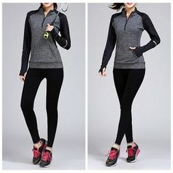 Women Long Sleeve Athletic Workout Running Yoga Shirt Compre