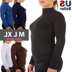 Women Long Sleeve Mock Neck Shirt Stretch Turtleneck Top Sli