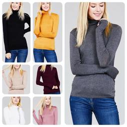 Women Long Sleeve  T-Shirt Slim Fit Turtle neck Pullover Hig
