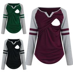 Women Nursing Long Sleeve Tops Splice Shirt Casual Breastfee
