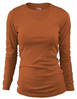 Soffe Women's 100% Cotton Lightweight Long Sleeve Crewneck T