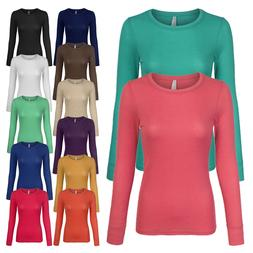 Women's Basic Lightweight Thermal Long Sleeve Crew Neck T-Sh