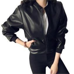 Women's Black Long Sleeve Warm PU Leather Jacket Cycling Ant