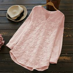 Women's Blouse Lace Floral Loose Long Sleeve Casual T Shirt