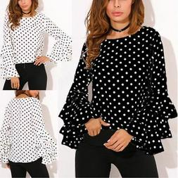 Women's Casual Long Sleeve Blouse Tops Polka Dot Printed T-s