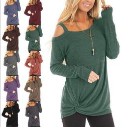 Women's Cold Shoulder Cut Out Long Sleeve Sweater Tops Blous