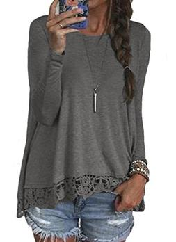 Halife Women's Crewneck Long Sleeve T-Shirts Tops with Lace