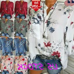 Women's Floral V Neck Button Long Sleeve Tops Loose Blouse S