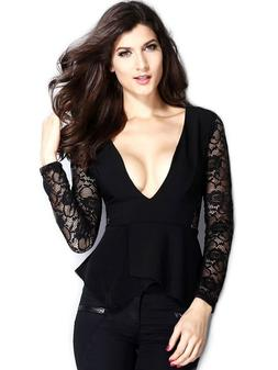 Women's Long Lace Sleeve Deep V Jersey Flare Peplum Blouse D