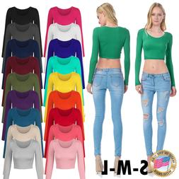 Women's Long Sleeve Basic Crop Top Round Neck With Stretch U
