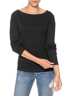 GAP Women`s Long Sleeve Boatneck Black Tee S,M, L, XL,2XL T