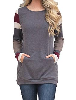 Halife Women's Long Sleeve Cotton Knitted Casual Tunic Sweat