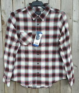 Pendleton Women's Long Sleeve Flannel Brown, Red, Ivory Plai