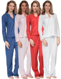 Casual Nights Women's Long Sleeve Floral Lace Trim Pajama Se