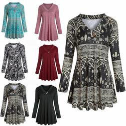 Women's Long Sleeve Floral V-Neck Tunic Tops Solid Tunic for