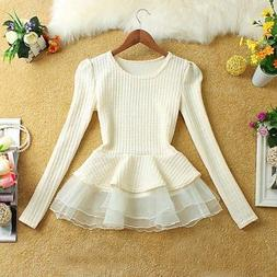 Women's Long Sleeve Lace Ruffled Peplum Sweater Tops Winter