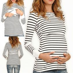 Women's Long Sleeve Maternity Layered Nursing Tops Baby Brea