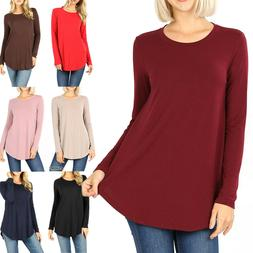 Women's Long Sleeve Tunic Top Casual Crew Neck Basic T-Shirt