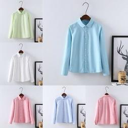 Women's Long Sleeve Turn-down Collar Blouse Tops Button Down
