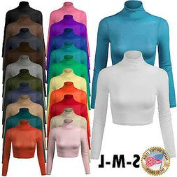 Women's Long Sleeve Turtleneck Basic Crop Top with Stretch M
