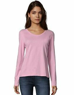Hanes Women's Long-Sleeve V-Neck T-Shirt Tee 100% Cotton Top